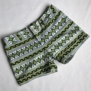 INC White/Green/Black Patterned Shorts